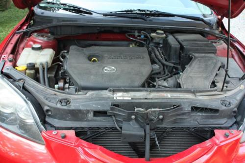 The spark plugs are covered by the black plastic engine cover.