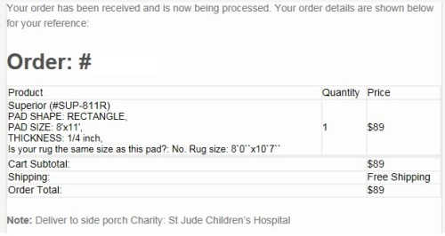 This is the invoice from July's purchase at Rug Pad Corner.
