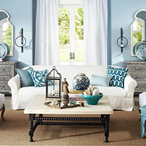 Focus on the coffee table elements.
