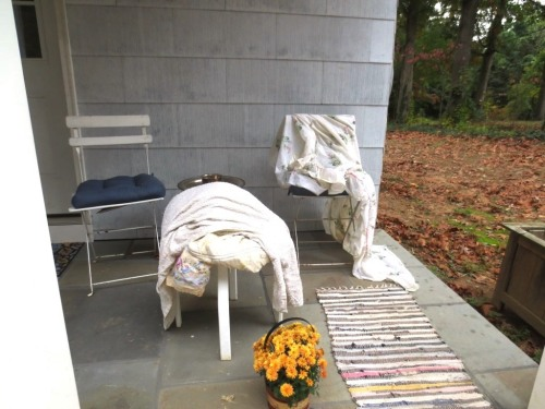 I'm sure the neighbors appreciate that I'm using the porch for drying sheets and pillow cases.