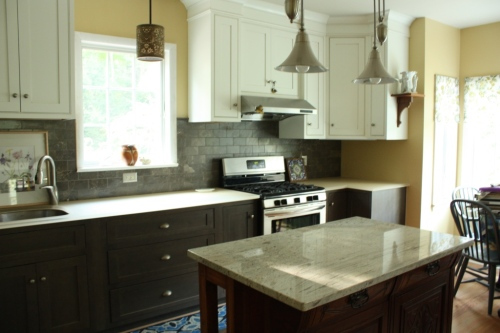The kitchen island is handy when working on the prep side of the kitchen.