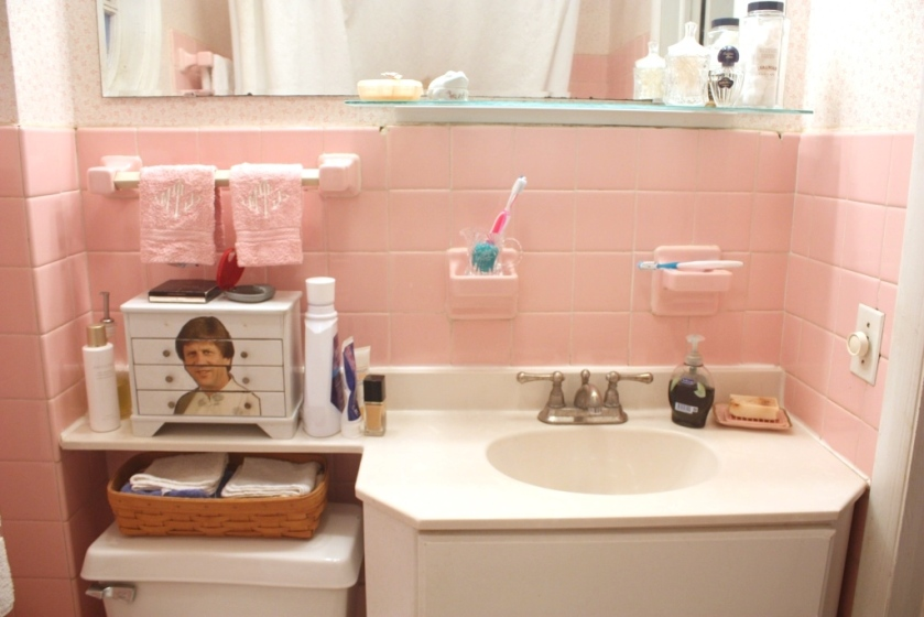 The pink bathroom on a good day.