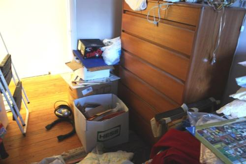 This is the progress I made in here meanwhile clothes are in piles everywhere else.  It's a start.