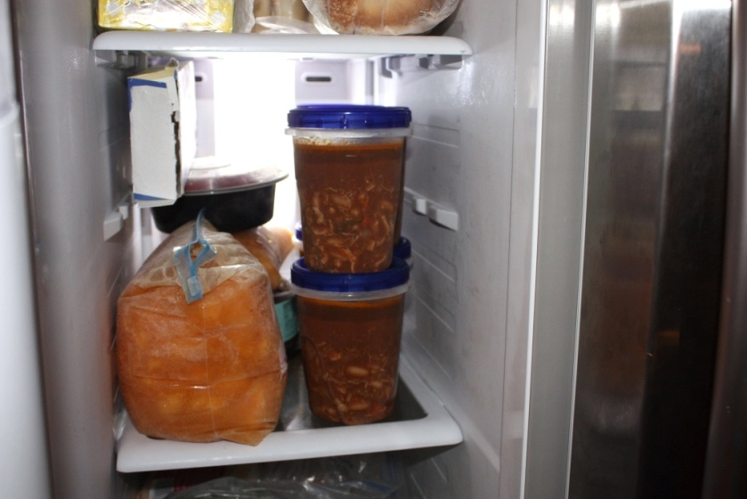 After cooling for a night in the refrigerator I twisted the lids on tight and put the containers of soup in the freezer where they will remain until the soup swap.