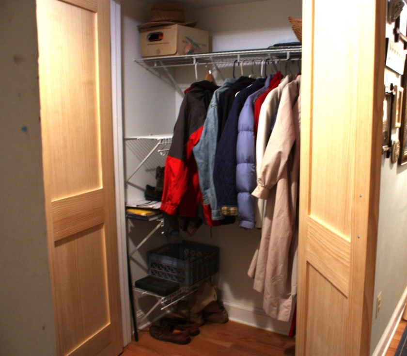 The mudroom closet is used for coat and shoe storage which gives it a stale smell.