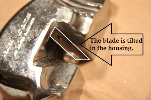 The blade can be set at any angle -- the greater the angle the more difficult the cut.