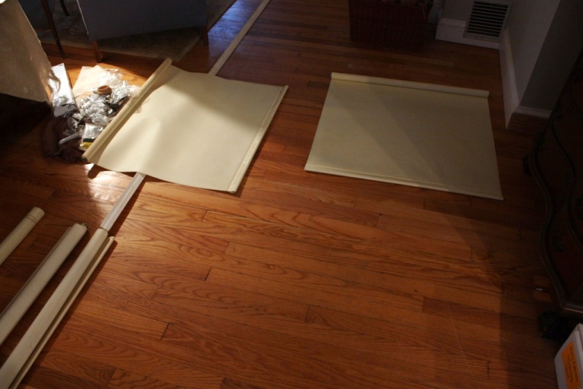 I'm using the floor space between the living room and dining room to lay out the shades.