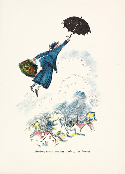 Mary Poppins and her umbrella. Illustration by Mary Shepard.