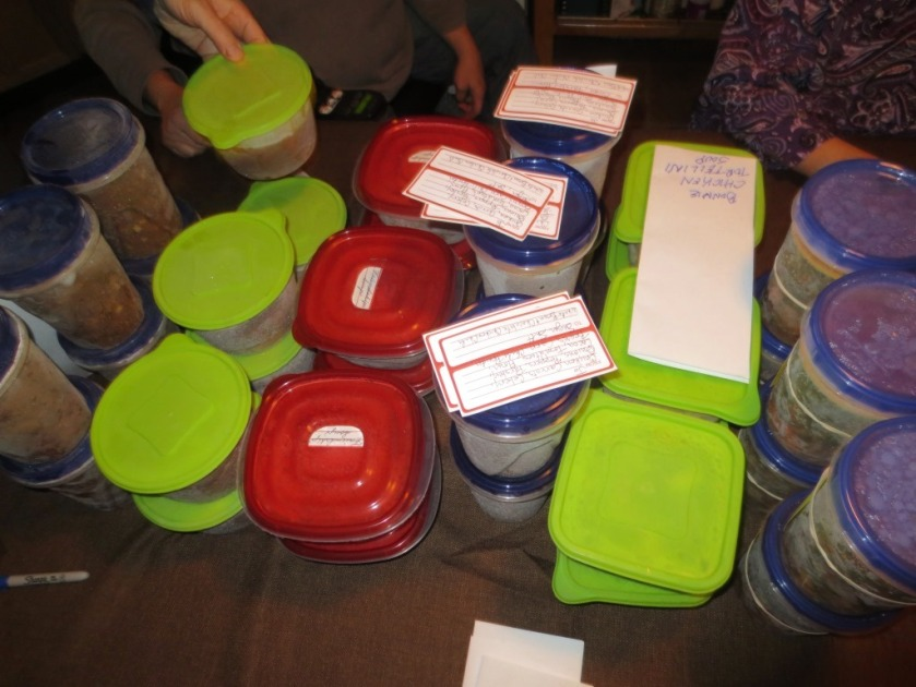 All participants put 6 quarts of frozen soup on the table labeled with the type it was.
