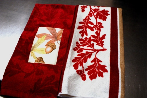 Fall themed kitchen towel for my friend who loves ruby red.