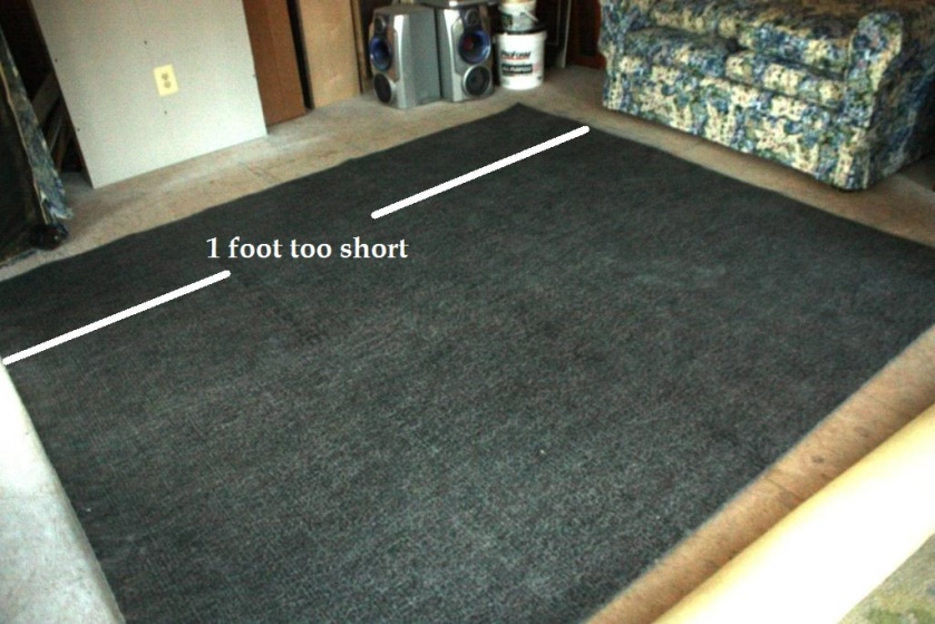 Lay a felt rug pad shiny side up on a solid surface floor.