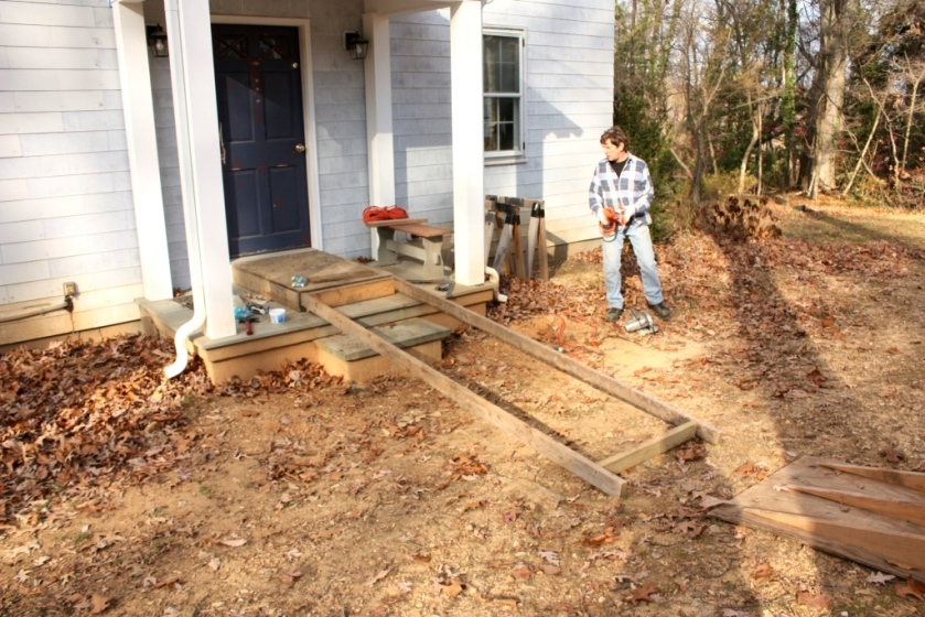 Two 10-foot 2 by 4s are the basic frame for the ramp.