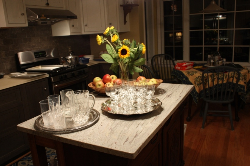 We can use the kitchen island as a buffet station for both hot and cold foods.