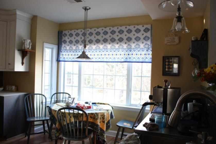 The blue and green in the curtains corresponds to the colors in he conservatory.