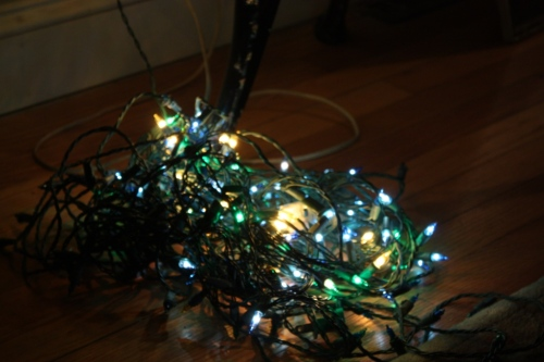 I found a couple strands of blue, green and gold lights -- woo hoo.
