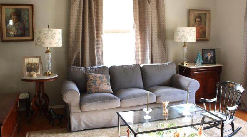 Short lamps near the sofa