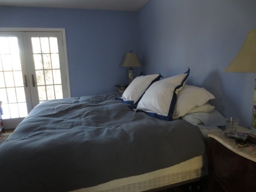 The down comforter is not charcoal grey -- or a very dark steel blue.