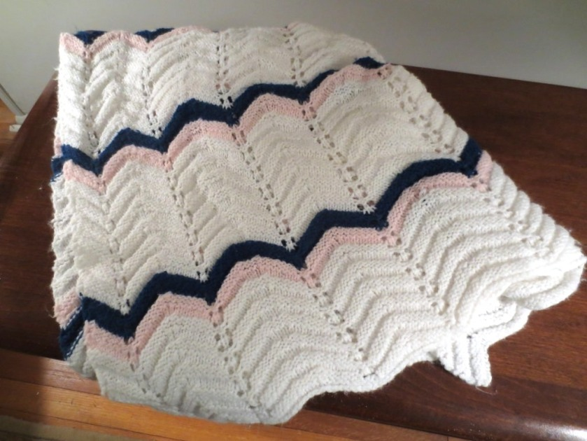 I knit this baby afghan about 30 years ago when my boy was a baby.