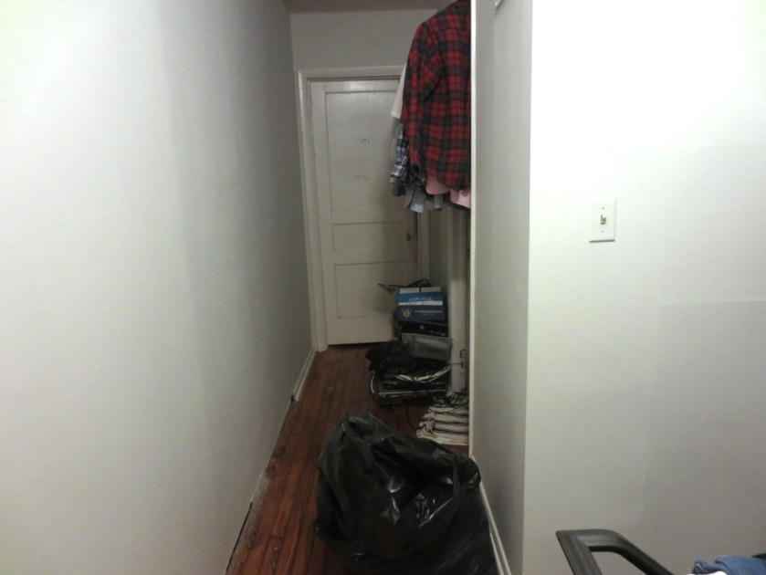 We've been using the upstairs hall as a storage spot while we work on the master bedroom closet.