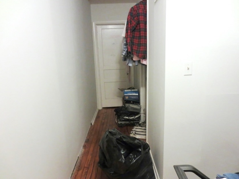 We had a few bags and boxes blocking the upstairs hallway.