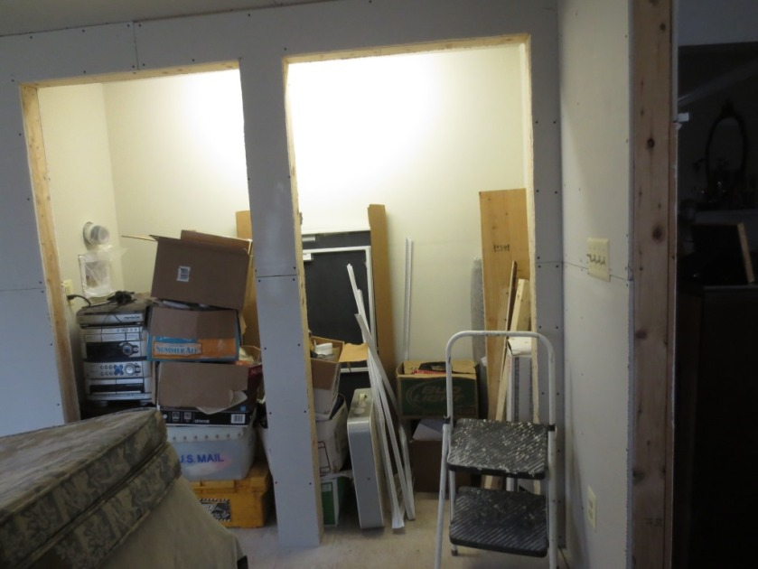 I moved all that junk into the newly painted closet.