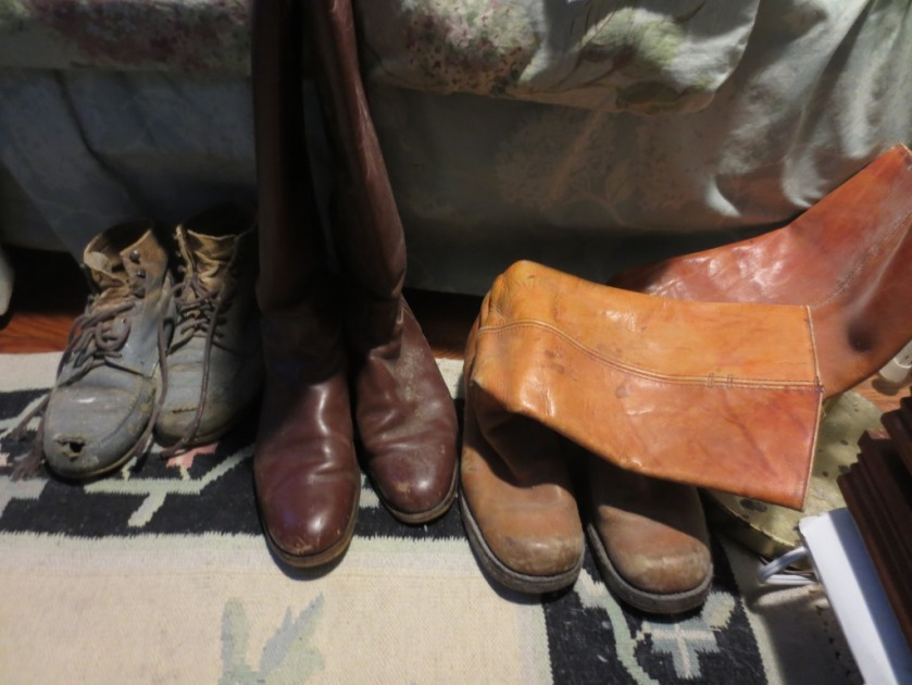 My boots -- (L to R) work boots, riding boots (I haven't been on a horse since 1990), Frye boots (gift from Dad in 1975).