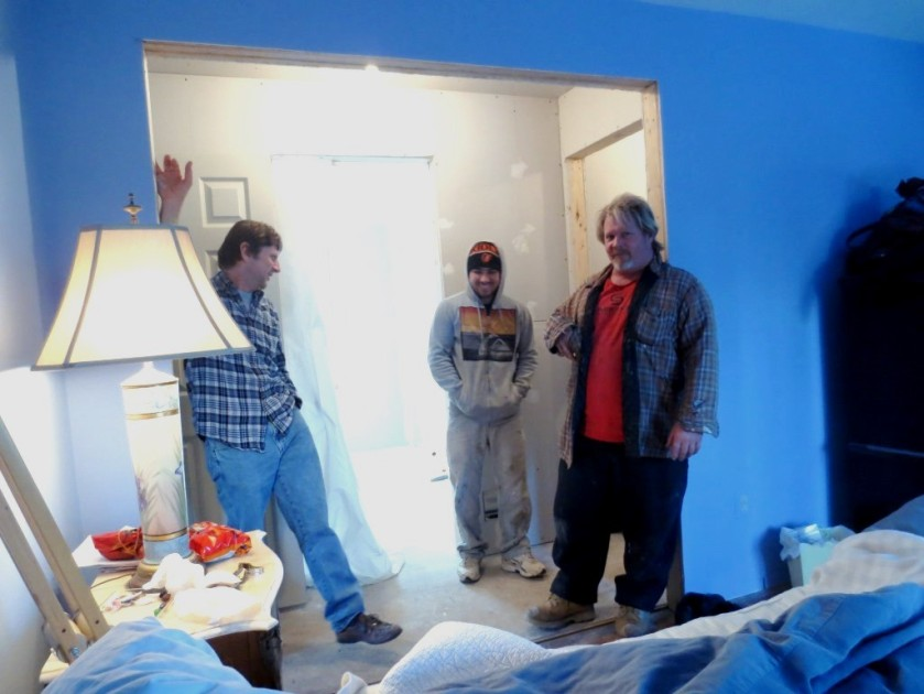 The drywall team: (L to R) Charlie, The Finisher, The Man Who Does It All.