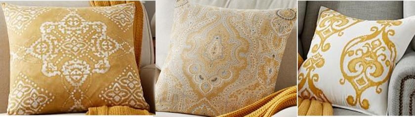 Pottery Barn pillows: the yellow ochres are lovely.