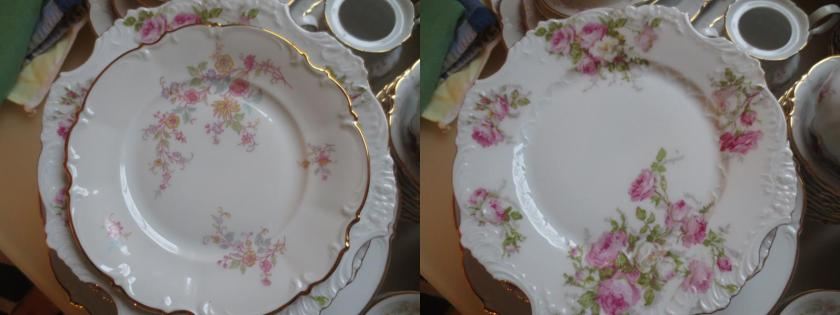 Hutschenreuther on the left; my mother's tea plates on the right.