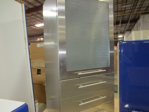 I almost bought this stainless cabinet but the side that would show in our kitchen had some holes in it.
