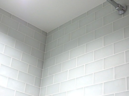 Conservatory bathroom shower tile -- Snow Frost glass subway tile