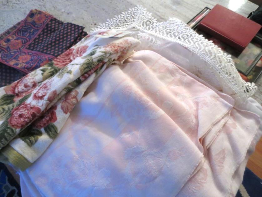 Pale pink linens.