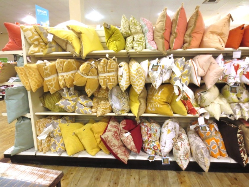Pillows were sorted by color and tied together in pairs.
