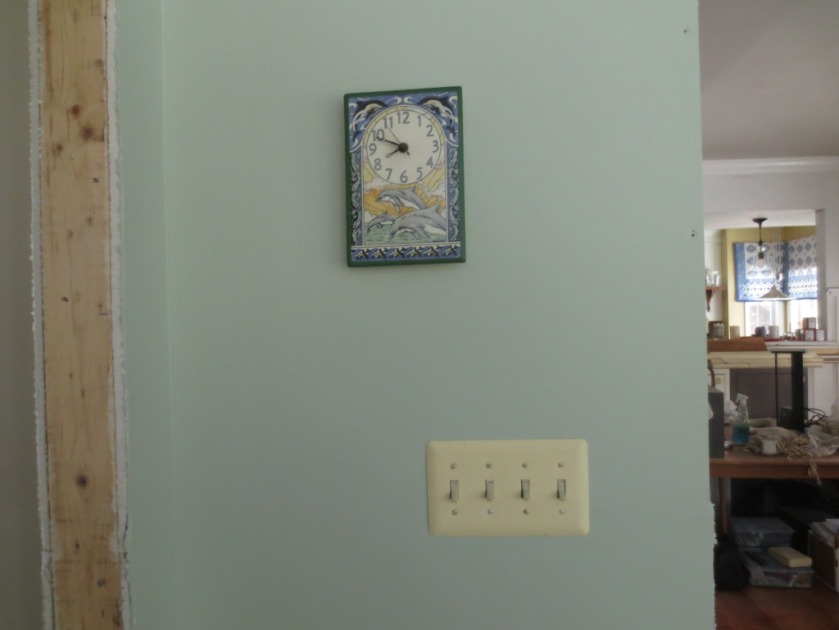 The generic color switch plate will look better painted the wall color.