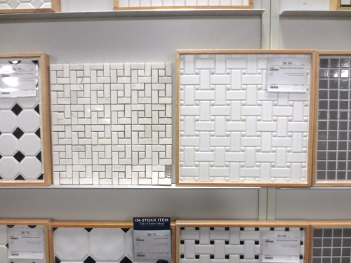 The new-style tile is on the right.  I also looked at straight basketweave white marble (on the left).