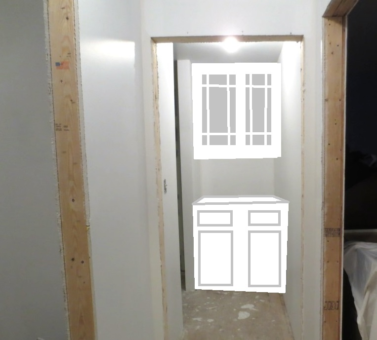A mock-up of the niche at the end of the hall -- white might make sense in this space with no window.