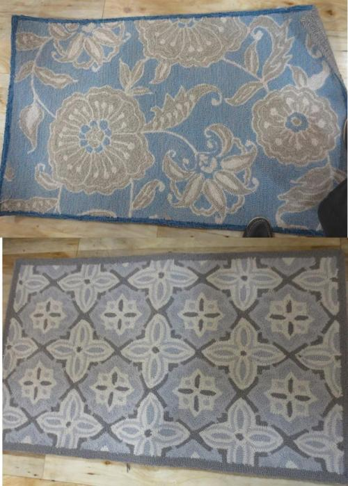 Blue and grey and grey and blue easy to clean Safavieh  throw rugs.