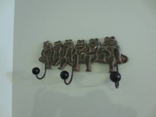 I bought these hooks at Ross over ten years ago for $4 (the tag was still on it when I got it ready to hang up).