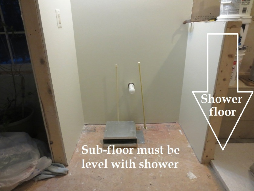 Before the floors are tiled the floor outside the shower must be level with the floor inside.