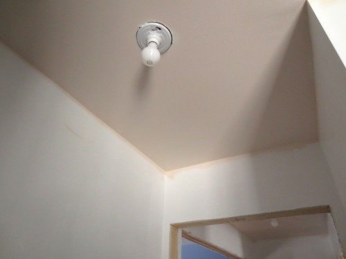 The roughed-in lights in the master suite are simple porcelain sockets. YUK!