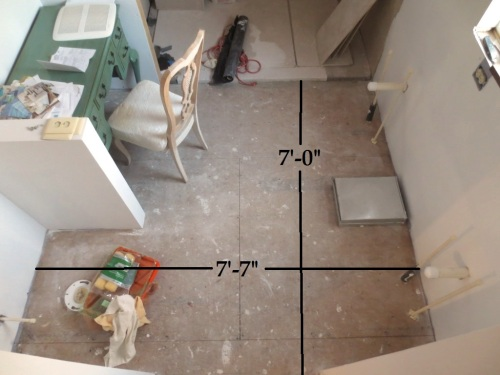 The master bathroom needs two times 2 sheets of plywood to cover the entire floor.