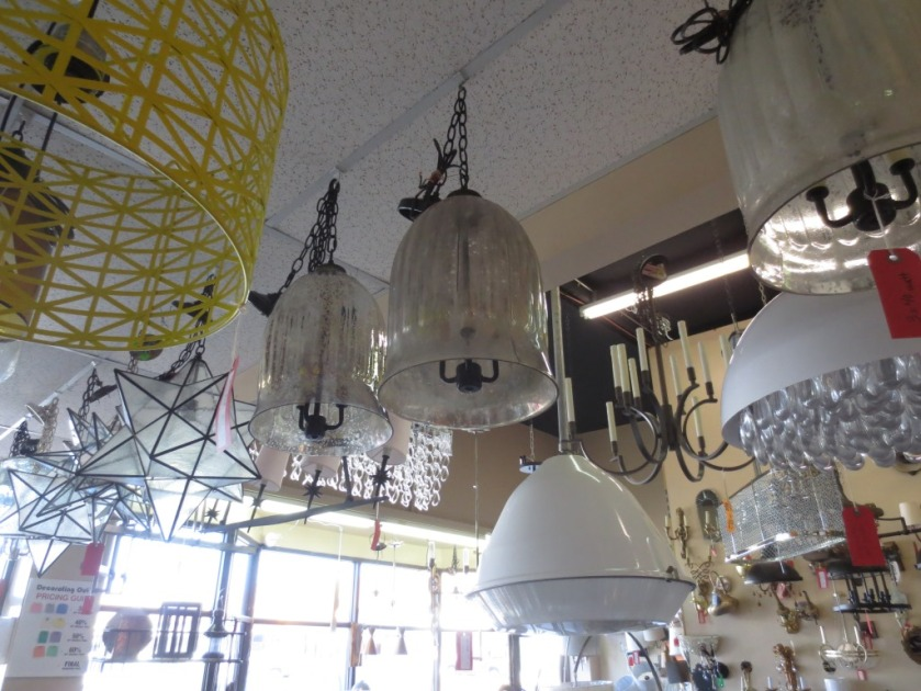 These hanging fixtures were too huge for the bathroom but attractive nonetheless.