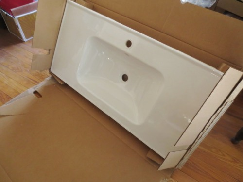 The Odensvik sink is a rectangular bowl one-piece sink and counter.