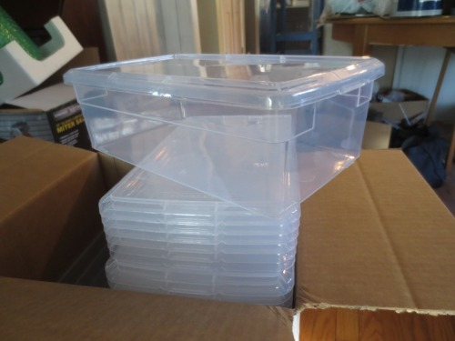Plastic shoe boxes from The Container Store.