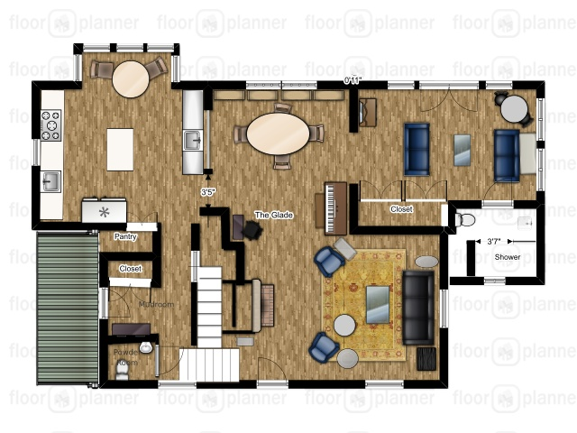 The new floor plan includes an enlarged kitchen and a conservatory with a full bathroom.