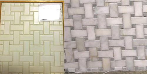 Bathroom basketweave floor tile -- white for the conservatory and marble for the master.