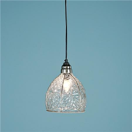 Catalog description: Glass is blown into chicken wire in the form of diamonds and flowers to create a whimsical glass pendant for rustic or cottage settings. Due to the hand-blown, hand-cut nature, each glass will vary slightly.