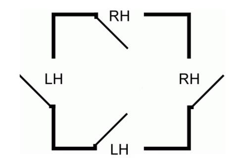 If my description of door swing below is not helpful maybe this diagram is.