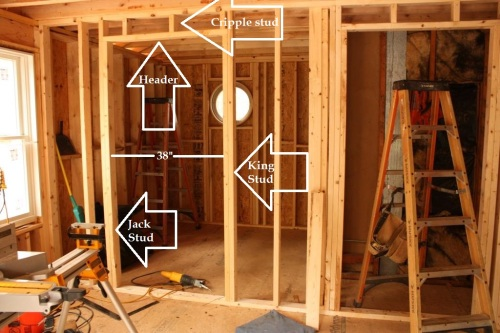 The conservatory bathroom doorway is 38 inches wide -- needs a 3-foot wide door which we'll order prehung.