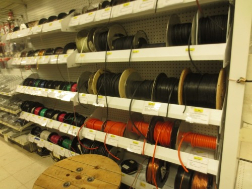 The hardware store had a large selection of wire wherein we found exactly the right thing.